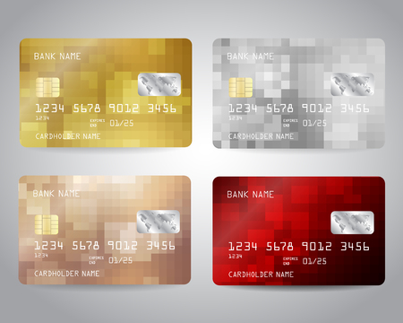 Realistic detailed credit cards set 向量圖像