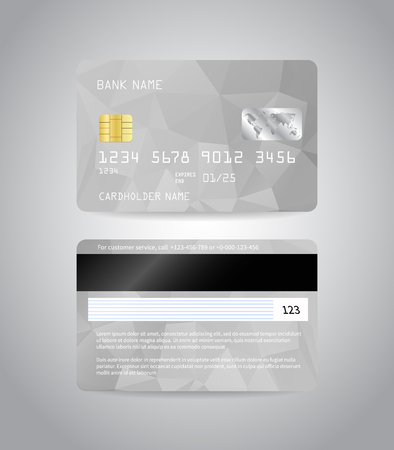 Realistic detailed credit cards set with colorful silver grey abstract triangular design background. Front and back side template. Money, payment symbol. Vector illustration EPS10.
