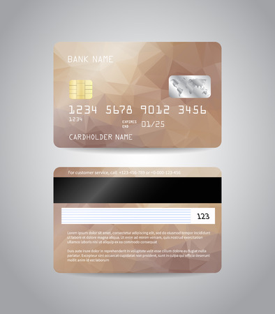Realistic detailed credit cards set with colorful bronze beige abstract triangular design background. Bronze card. Front and back side template. Money, payment symbol. Vector illustration EPS10 Stock Photo