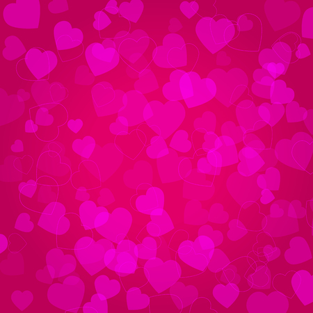 Background with pink hearts on pink background Illustration