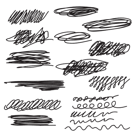 Scribble brush strokes set Illustration