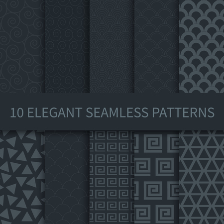 Set of black seamless elegant geometric ornament patterns, design elements, labels, frames, for packaging, Design of luxury products. Seamless tiling. Vector dark backgrounds for print, textile, cloth