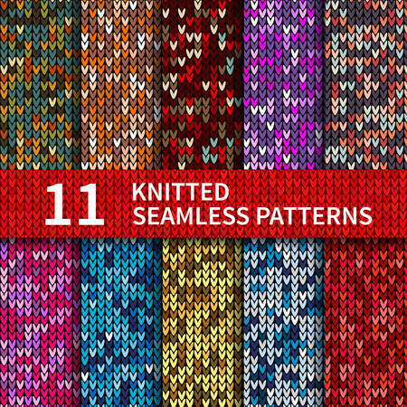 Seamless patterns with knitted sweater texture collection. Christmas and New Year holidays abstract background set. Vector illustration EPS10 Çizim