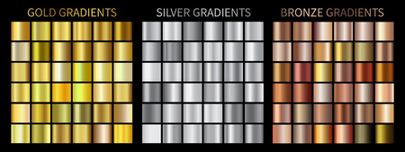 Gold, silver, bronze gradients square.