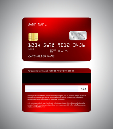Credit cards set with red abstract illustration.