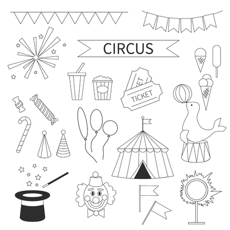 Vector Circus icon set. Festival linear symbol pack. Circus equipment, devices, tent, clown, magic hat, tickets, flags, fireworks, balloons. Carnival performance illustration in cartoon simple style