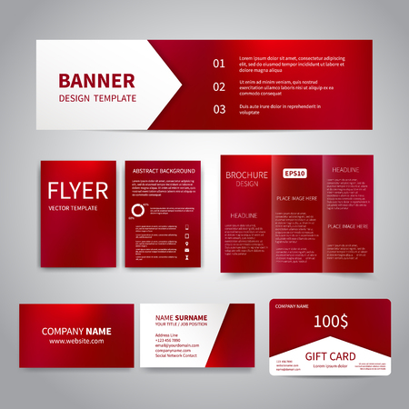 Banner, flyers, brochure, business cards, gift card design templates set with beautiful shiny red crimson background. Corporate Identity set, Advertising, party promotion printing.