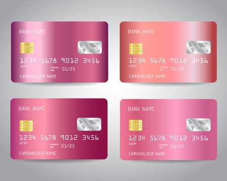 Realistic detailed credit cards set with rose gold abstract pink metallic gradinet design background. Pink, rose gold colors. Vector illustration EPS10