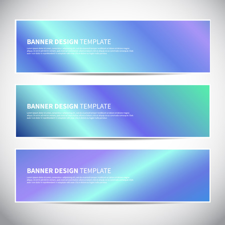 Banners or headers with holographic blue gradient colorful background. Vector design for your banners, headers, footers, flyers, cards etc. Vector hologram banners Stock Illustratie