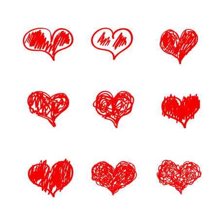 Heart icons hand drawn sketch set for Valentines Day, Mothers Day cards, flyers