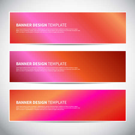 Banners or headers with holographic gradient colorful background. Vector design for your banners, headers, footers, flyers, cards etc. Vector hologram banners Foto de archivo - 112013141