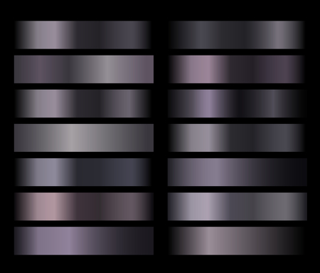 Black shiny texture gradients templates set. Collection of dark gradient