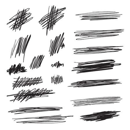 Scribble brush strokes set, vector logo design