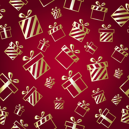 Christmas vector pattern with gold gift boxes on red background. New year vector design. Christmas design for cards, invitation, gift boxes, birthday, wedding and other holidays