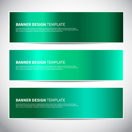 Banners. Emerald green gradient vector banners templates or website headers. Vector design for your headers, footers, flyers, cards etc.