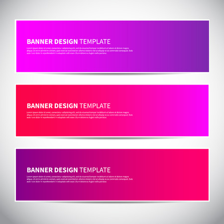 Banners or headers with trendy bright gradient colorful background