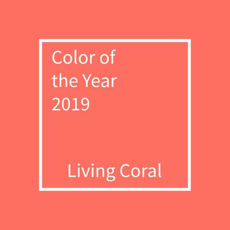 Living Coral color of the year. Color trend palette Ilustração
