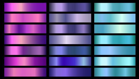 Set di gradienti vettoriali per texture in lamina metallica rosa, viola, viola, blu, acquamarina