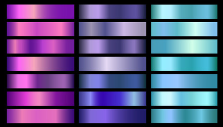 Pink, purple, violet, blue, aquamarine metallic foil texture vector gradients set