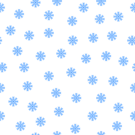 Christmas seamless pattern with blue snowflakes on white background. Vector design for your wrapping paper, cards, prints, scrapbooking, banners, covers, flyers, posters, leaflets, bedclothes textile