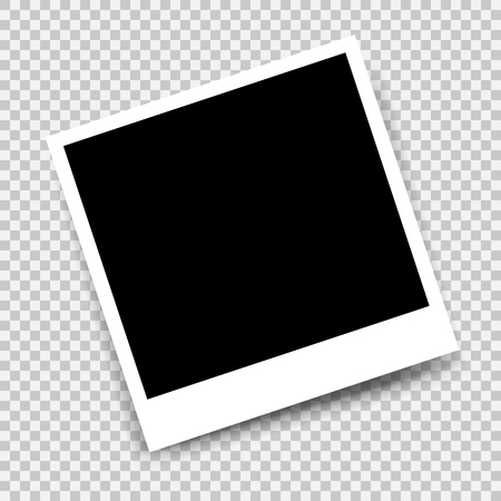 Vector photo frame with shadow mockup design. White border on a transparent background Vetores