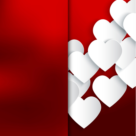 Paper 3D hearts red background. Valentines Day card. Vector illustration EPS10