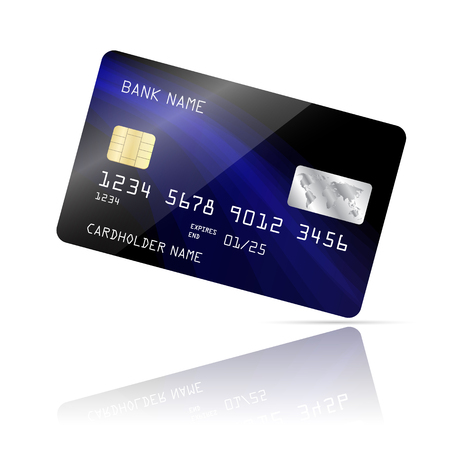 Realistic detailed credit card with blue wave abstract design isolated on white background Ilustración de vector
