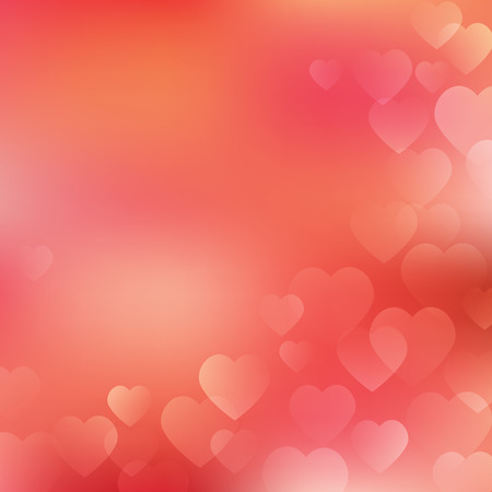 Valentines Day Background with hearts on living coral background. Vector hearts design for your cards, wedding invitation, flyers, brochures, posters, banners etc. Vector holiday design Stock Illustratie