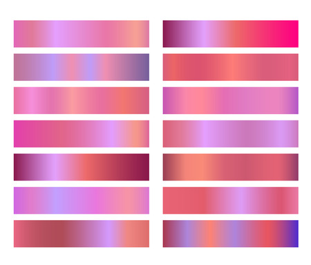 Neon holographic pink gradient banners templates or website headers. Vector mesh exclusive Design for your beauty salon, cosmetics shop banners, headers, footers, flyers, cards etc.