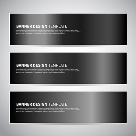 Black shiny texture gradients templates set. Collection of dark gradient illustration gradation for backgrounds, cover, frame, ribbon, banner, coin, label, flyer card poster. Vector template design Çizim