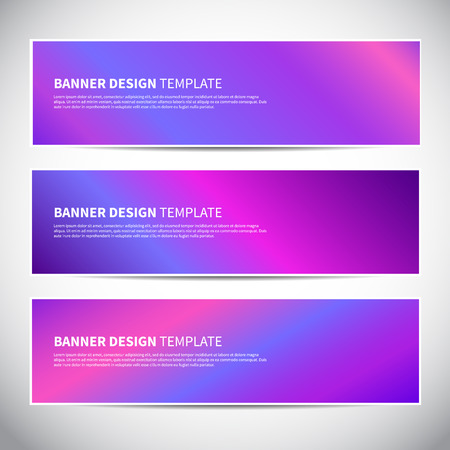 Banners or headers with holographic blue gradient colorful background. Vector design for your banners, headers, footers, flyers, cards etc. Vector hologram banners Illustration