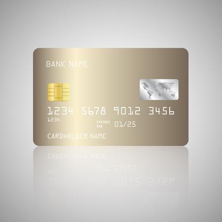 Gold Credit card. Golden credit card template or mock up. Money, payment, financial symbol. Vector banking illustration design EPS10 向量圖像