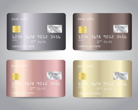 Credit cards vector set with gold, bronze, rose gold, silver metallic design Stock Illustratie