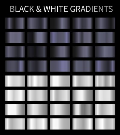 Black and white vector gradients. Silver metallic, chrome gradients Çizim