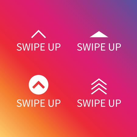 Swipe up icon set on colorful gradient background for social media stories, scroll pictogram. Illustration