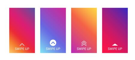 Backgrounds with swipe up symbol for social media story. Vector abstract colorful gradient template for smartphone screen, stories, landing page, website, mobile app, phone cover design. Swipe up icon Illustration