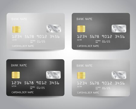 Credit cards set with colorful abstract design background. Black, white, silver, gray monochrome colors.