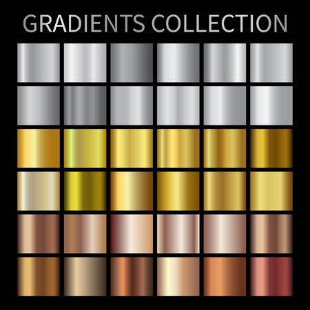 Gold, silver, bronze gradients. Collection of colorful gradient illustrations for backgrounds