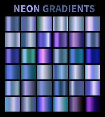 Neon, blue, fluorescent, aquamarine metallic foil texture vector gradients set