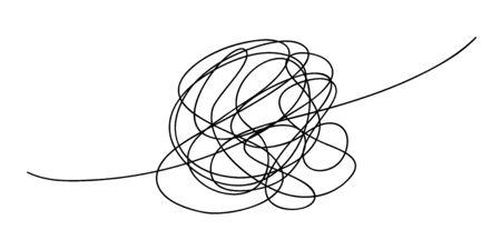 Scribble chaos line brush stroke, vector doodle sketch circle. Hand drawn design Vektoros illusztráció