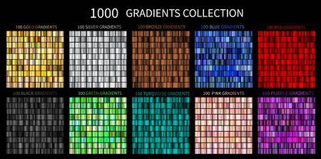 Gradients Vector Megaset Big collection of metallic gradients 1000 glossy colors backgrounds Gold, bronze, silver, chrome, metal, black, red, green, blue, purple, pink, yellow, gold turquoise colors Vector Illustration