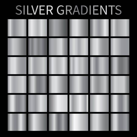 Silver metal gradient backgrounds vector. Chrome shiny texture vector swatch collection for design, frame, label, badge, ribbon, medal, ring, coin, banner etc.