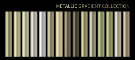 Metallic gold, bronze, silver, green gradient vector colorful palette and texture set. Pastel background swatch template for banner, screen, mobile, label, tag. Metal color gradient vector design