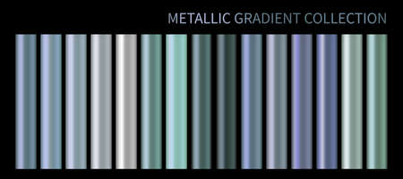 Pastel blue purple chrome gradient vector colorful palette set. Holographic metallic background color swatch template for banner, screen, mobile, label, signboard. Metal color gradient vector design