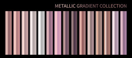 Metallic rose gold vector gradient, bronze, pastel peach pink colorful palette and texture set. Holographic foil pink background swatch template for banner, screen mobile. Chrome color gradient vector
