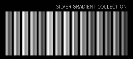 Silver metallic gradient, chrome, metal foil texture template. Vector Silver swatch set. Vector Metallic gray gradient illustration grey gradation for banner, web, screen, surface, tag, background