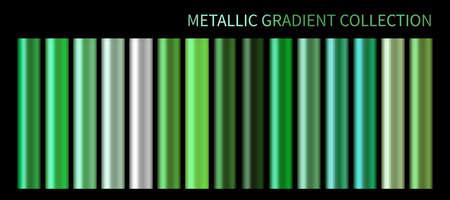 Metallic neon green chrome gradient vector colorful palette set 일러스트