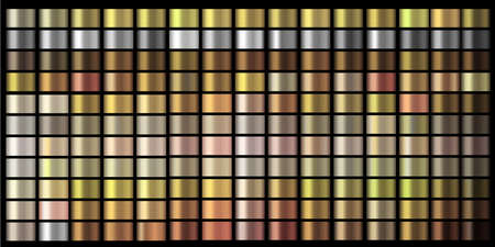 Vector Gradients collection. Gold, golden, gold rose, silver, bronze, copper, chrome colors gradient