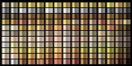 Vector Gradients collection. Gold, golden, gold rose, silver, bronze, copper, chrome colors gradient