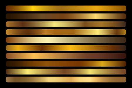 Gold Gradient vector set. Shiny, elegant golden, bronze, copper gradation colors